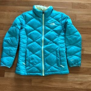 North Face Girls Turquoise/Lime Green Jacket